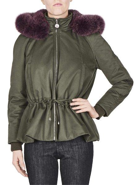 Short parka with fox fur hood