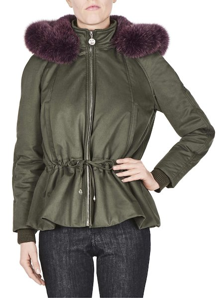 Short parka with fox fur hood