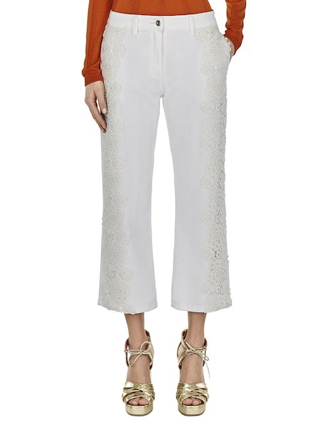 Trousers with bands of lace