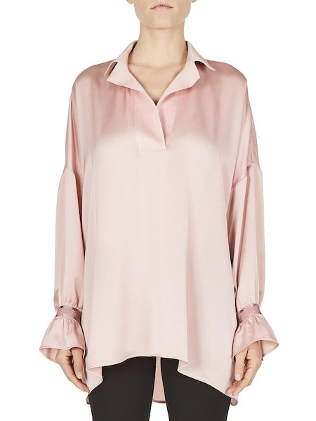 Full blouse with grosgrain detailing - pink