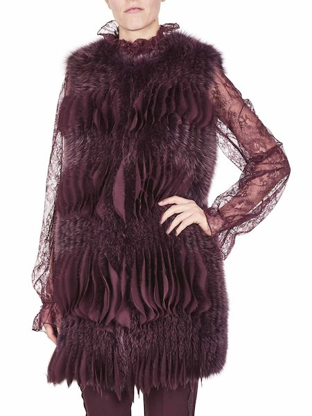 Waistcoat in fox fur and crêpe de Chine - Purple
