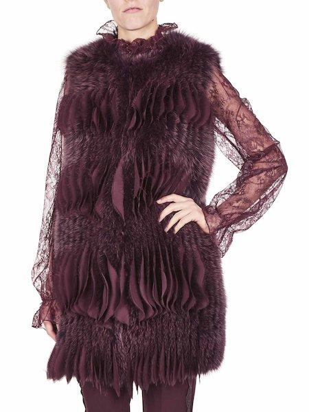 Waistcoat in fox fur and crêpe de Chine - Purple