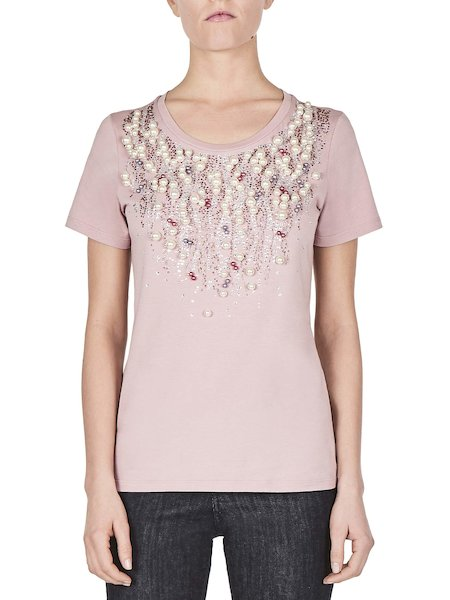 T-shirt with pearls and rhinestones - pink