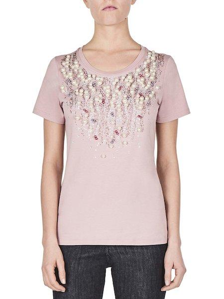T-shirt Con Perle e Strass