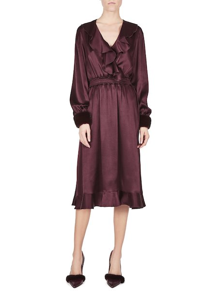 Dress with mink cuffs - Purple