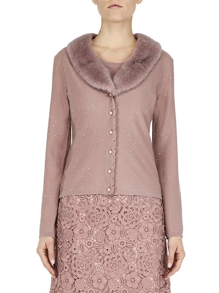 Wool BluVi in mink and sequins - pink