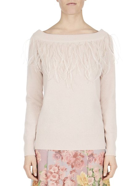 Wool sweater with feathers and rhinestones - pink