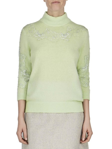 Sweater with lace detailing - Green
