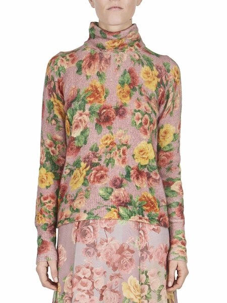Sweater with rose print