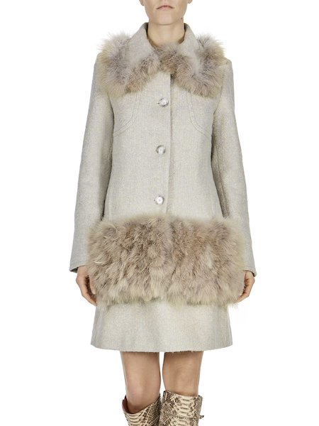 Car coat with feathers - white