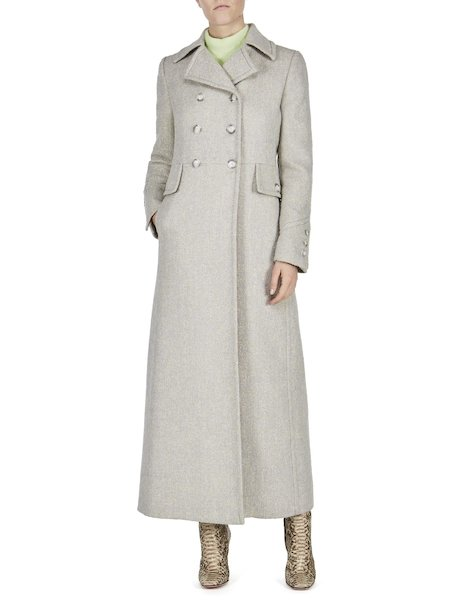 Long double-breasted overcoat - white