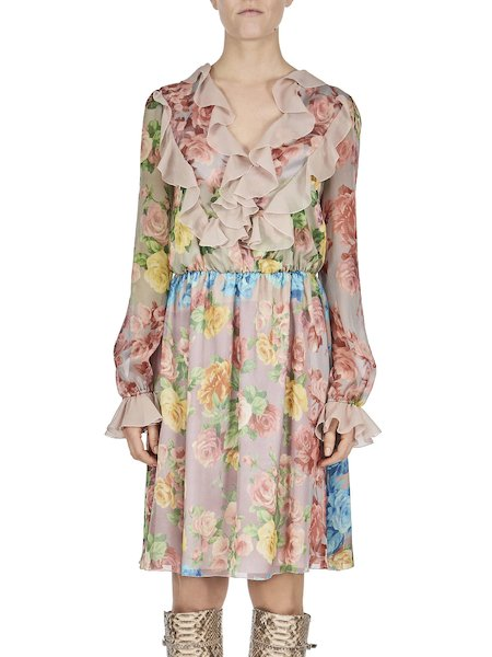 Dress with colour rose print