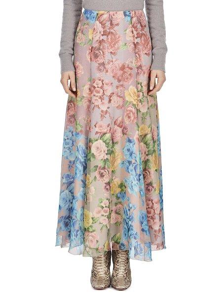 Jupe en soie à imprimé roses multicolores - Multicolore