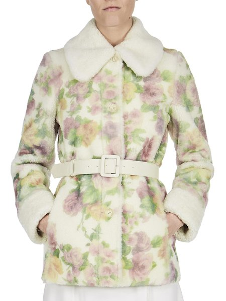 Coat in rose-print shearling