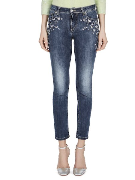 Five-pocket jeans with rhinestones - blue
