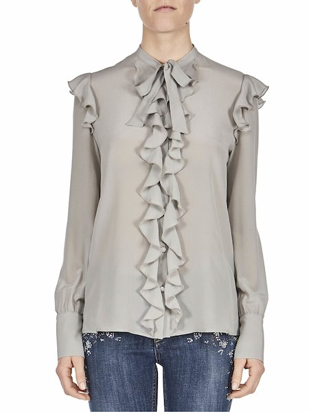 Blouse with ruffles - white