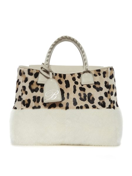 Leopard-spotted bag with mink insets