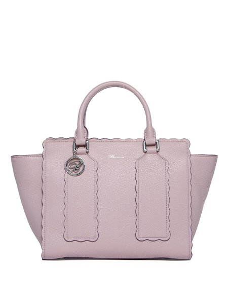 Handbag in leather trimmed with dentelle lace. - pink
