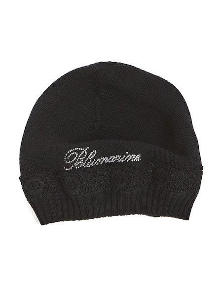 Bonnet orné de macramé et de strass - Noir