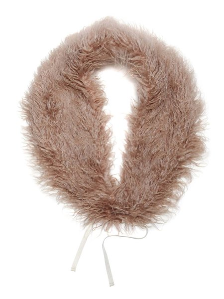Faux fur stole with ribbon - pink