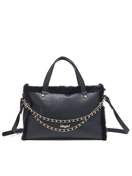 Handbag with handles and shoulder strap