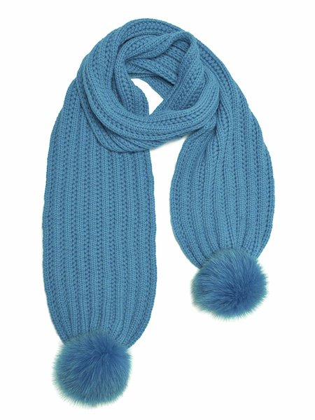Wool scarf with pompom - Light Blue