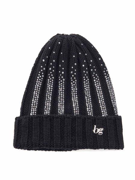 Bonnet en laine orné de strass avec logo