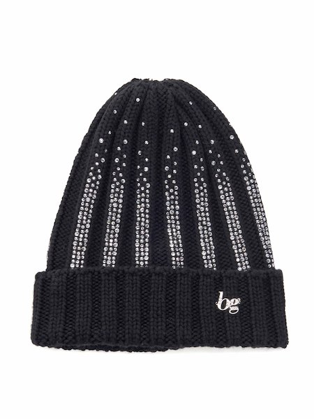 Wool hat with rhinestones and logo