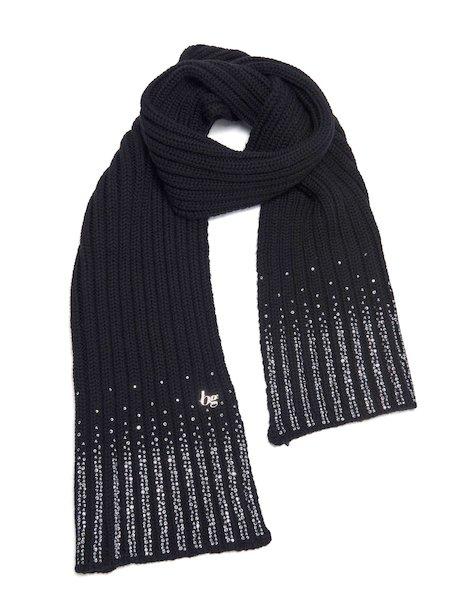 Écharpe en laine ornée de strass avec logo