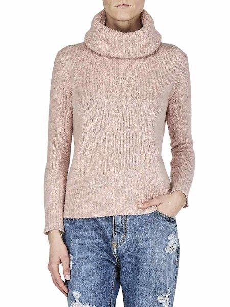 Wollpullover mit Rollkragen - rosa