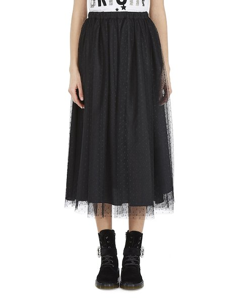 Midi-skirt in plumetis tulle - Black