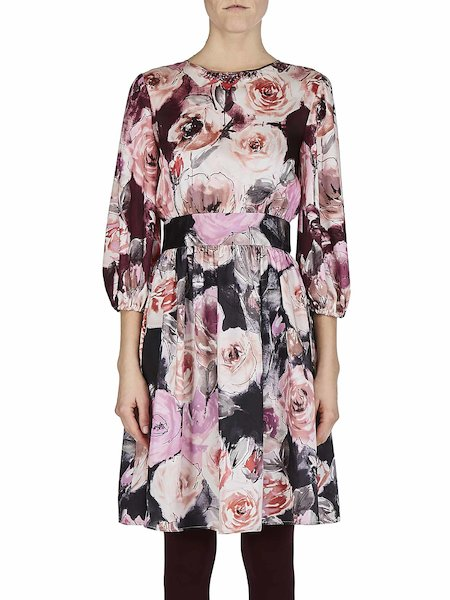 Rose-print dress with three-quarter length sleeves - Multicolored