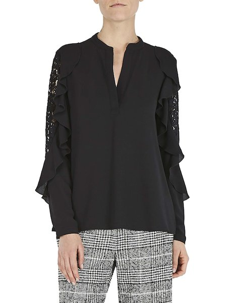 Blouse with flounces and lace - Black