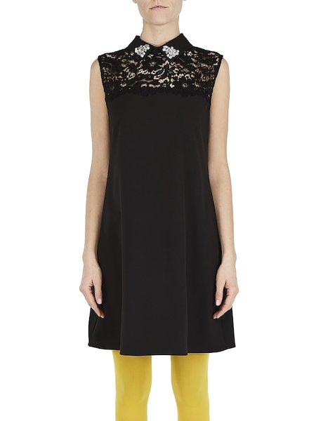 Sleeveless dress with lace and embroidery - Black
