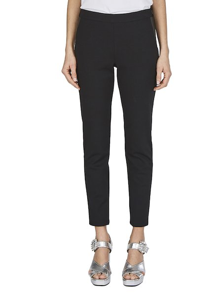 Slim-fit trousers with faux leather insets - Black