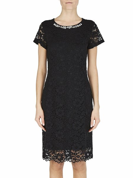 Dress in macramé lace with embroidery - Black