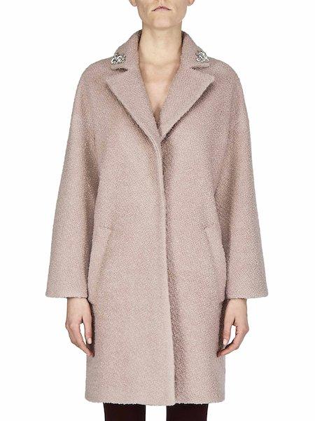 Manteau en laine bouclée avec broderie