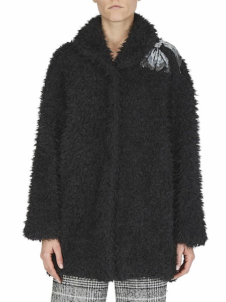 Overcoat in faux fur with bow - Black
