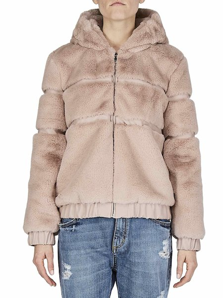 Bomber in faux fur - pink