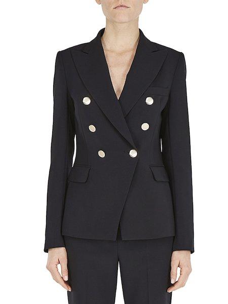 Двубортный приталенный пиджак - черный