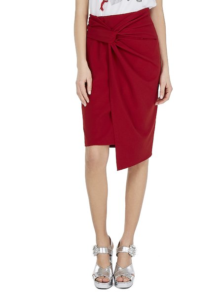 Asymmetrical skirt with knot - red