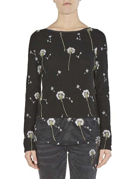 Pull orné de broderies florales - Noir