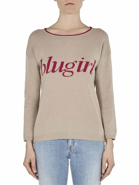 Sweater with logo intarsia - beige