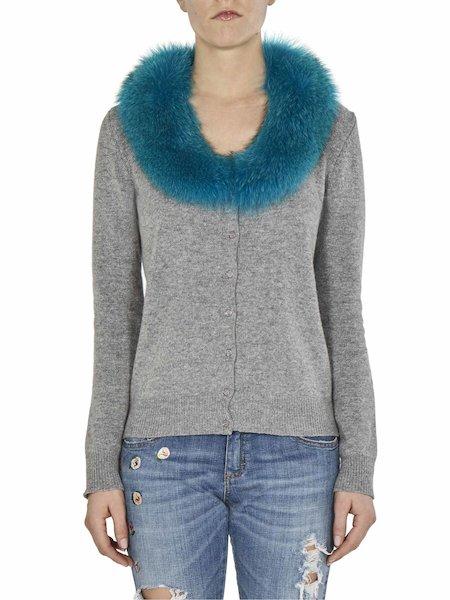 Cardigan with fur collar