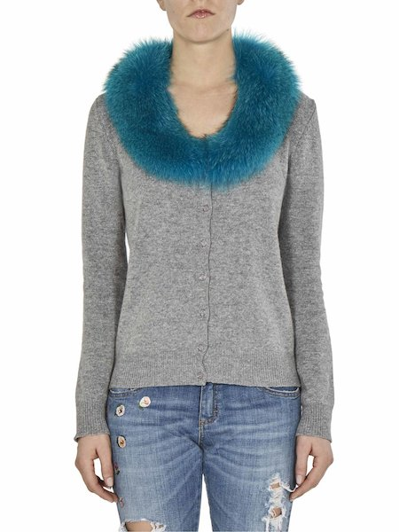 Cardigan with fur collar