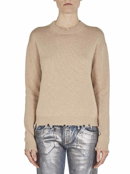 Destroyed-effect round-neck sweater - beige