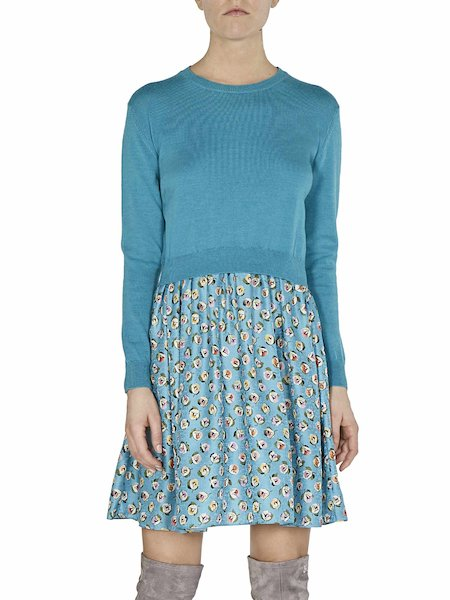 Dress in knit and floral-print fabric - blue