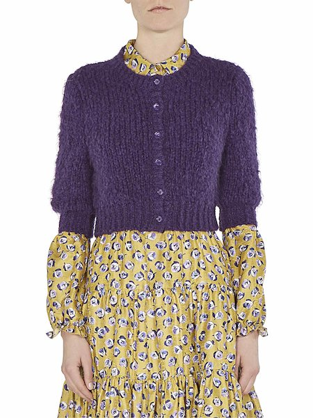 Short sweater with mandarin collar - Violet
