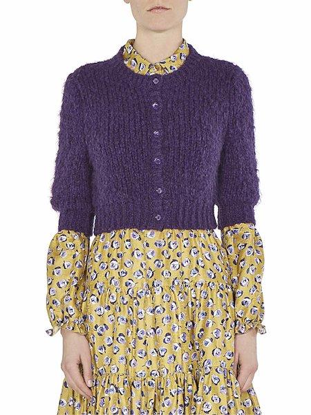 Short sweater with mandarin collar