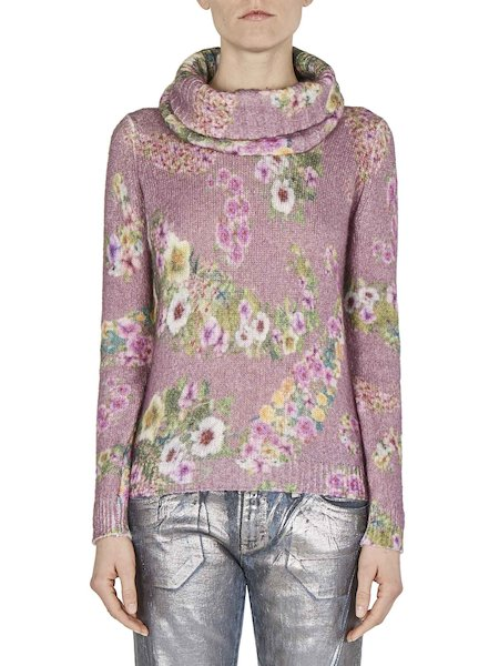 Floral-print turtleneck sweater